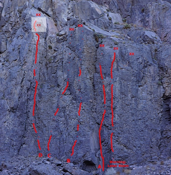 Warning Signs, far left side routes<br> A. Cookie Monster - 5.8+<br> B. Big Bird - 5.9<br> C. Elmo - 5.9<br> D. Gritty Gritty Bang Bang - 5.10b/c