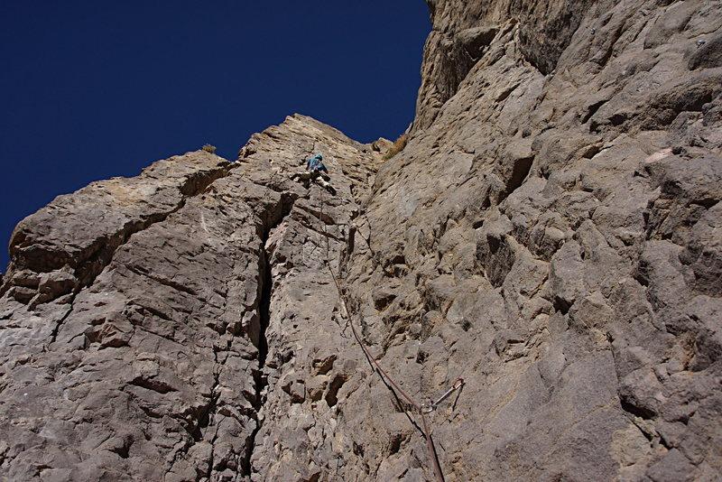 Rock Climbing Photo: Entering the crack section of the climb.