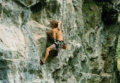 Rock Climbing Photo: Miles Elledge on 'Superbad', ca. 1996(?)