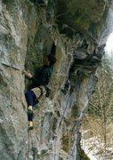 Rock Climbing Photo: Jason Henrie on the 'Go-go Gadget' move.