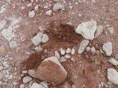 unearthed rock on the approach trail shows moisture to at least 7""