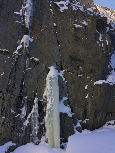 Rock Climbing Photo: This pillar formed at the start of Wicket in Decem...