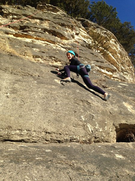 Pascale toproping Scareface Traverse