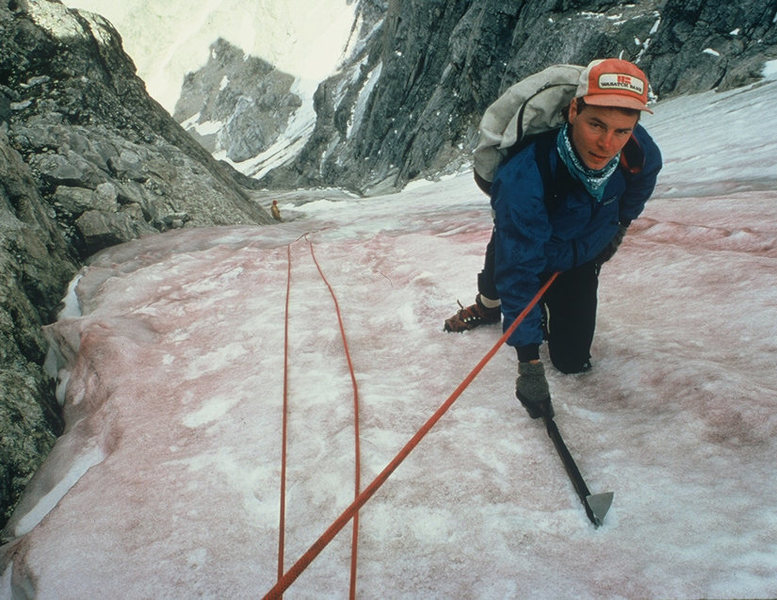Rock Climbing Photo: Jim Knight mid route, 1984