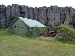 Rock Climbing Photo: Tóftin hut. Camping area is to the right, and pas...