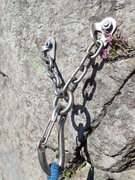 Rock Climbing Photo: Typical anchor set-up for the popular routes.