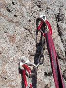 Rock Climbing Photo: Another common anchor set-up at Hnappavellir