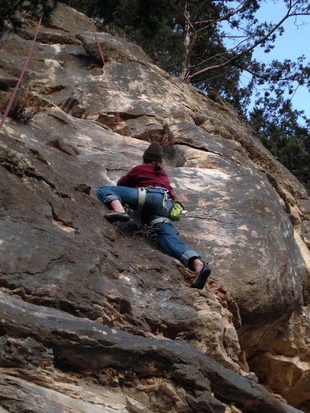 Rock Climbing Photo: Buck toproping Caveman