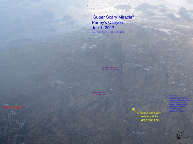 """Super Scary Miracle"" (SCM) w/recon points.  Parley's Canyon, SLC. Jan 1, 2017"