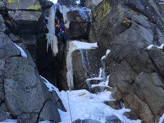 Rock Climbing Photo: Luke Lydiard making the first ascent of Jawa. Phot...