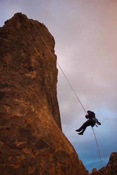 Rock Climbing Photo: Rapelling off The Burnt Penis. Sunset.