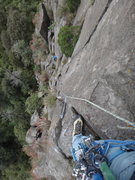 Rock Climbing Photo: View from halfway up the 2nd pitch of Por Seguir T...