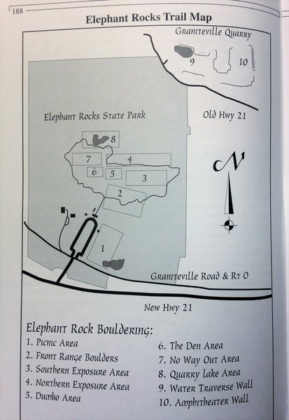 Elephant Rocks SP Bouldering Map provided by Marcus during the mid 90's