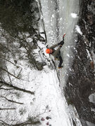 Rock Climbing Photo: On the upper column of Ice Storm.