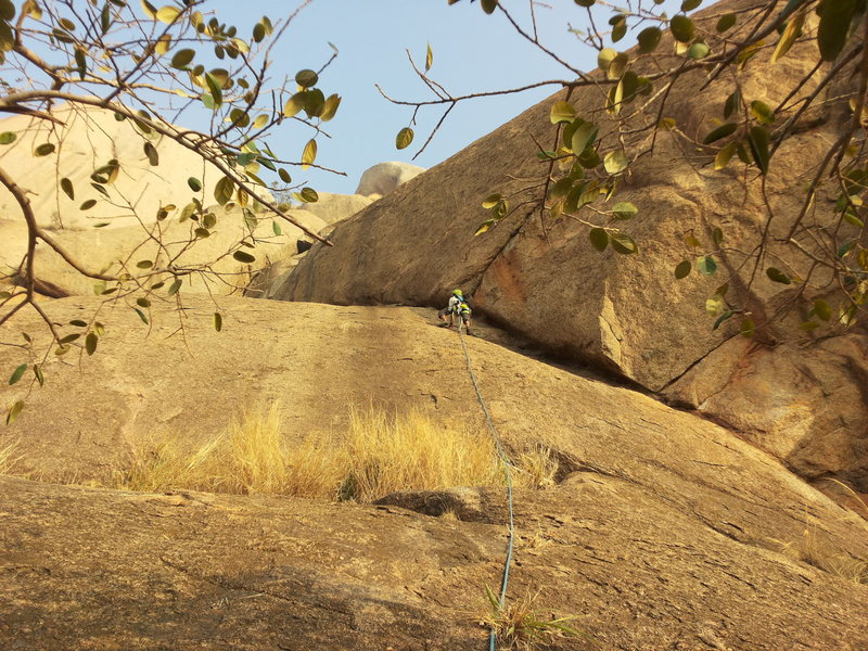 Rock Climbing Photo: Samiran leading P1. Protect with a cam on the righ...