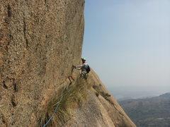 Rock Climbing Photo: Samiran starting on the Pitch 5 traverse