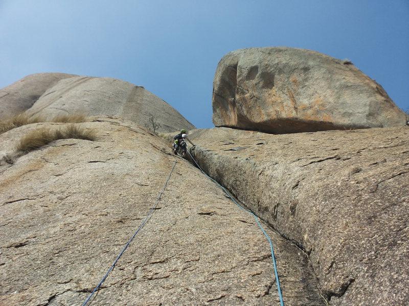 Rock Climbing Photo: Samiran leading P6 to the tree above; sketchy prot...