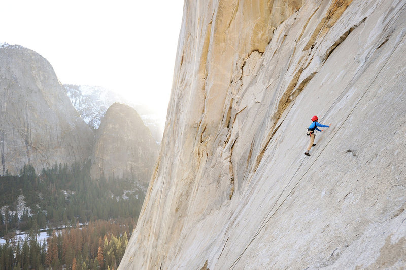 Bryson Fienup climbs Simulkrime (5.9), below the Alcove on El Capitan.
