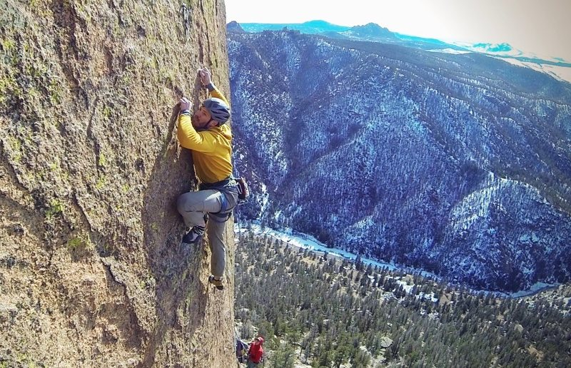 Dave on the 5.12 pitch.<br> <br> Photo by Dave Allie.
