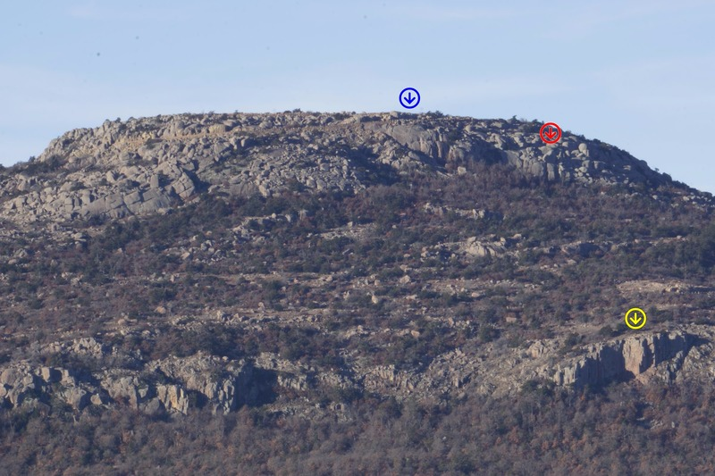 The Mount Scott crags (also taken from Lake Lawtonka East Campground).<br> <br> Upper Mount Scott (blue marker)<br> Romper Room (red marker)<br> Lower Mount Scott (yellow marker)