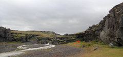 Rock Climbing Photo: West flank of Miðskjól, leading to the foot brid...