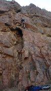 Rock Climbing Photo: The crux move, I think. Small toe-holds, balance, ...