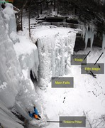 Rock Climbing Photo: The Main Falls. (The climber is on Tinker's Pi...