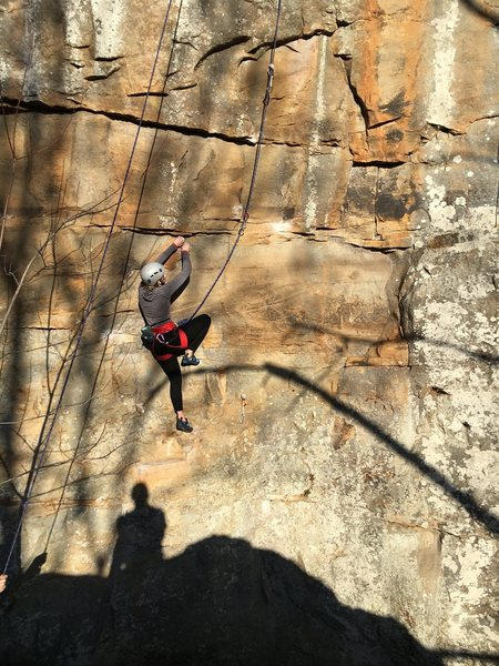 The first few holds on the route are extremely chalked.