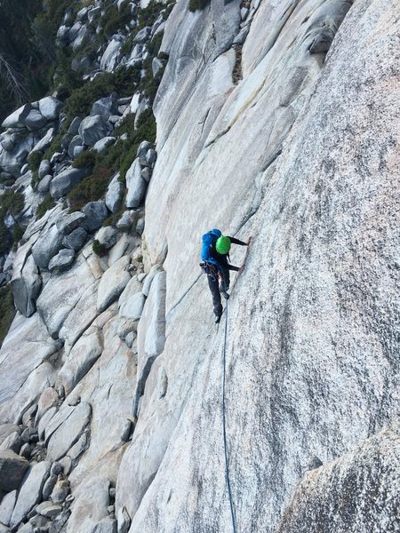 Follower on the friction traverse on P1