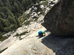 Rock Climbing Photo: View looking down from P2 gear anchor