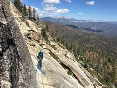 Rock Climbing Photo: Starting up P4 from ledge. Follower in gear anchor...