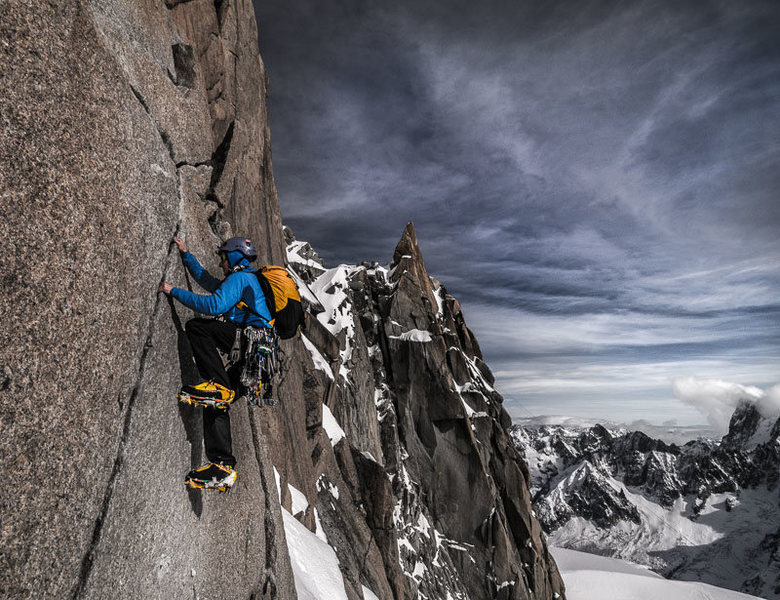 Cosmiques Arete crux: the photo<br> <br> (This photo is not mine and is an example of the crampon scars on the route.)
