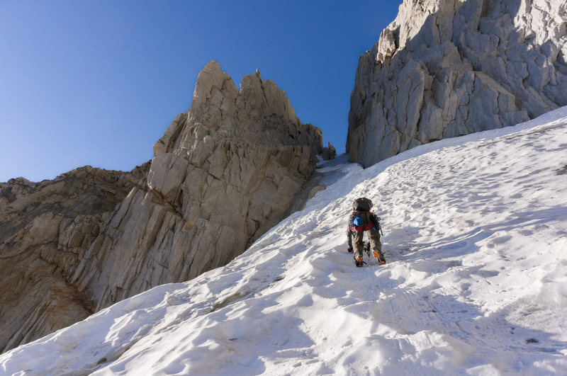 Cameron climbing the perfect neve approaching the beginning of the ice in September 2016