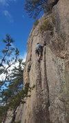 "Rock Climbing Photo: Leading ""Happy Cracks"""