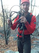 Rock Climbing Photo: Ranger Dave with the ancient, rotten anchor. Yay c...