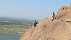 Rock Climbing Photo: Samiran topping out and TT belaying, in true arete...