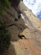 """Rock Climbing Photo: Pitch 4, keep left to follow """"Les Grand Galet..."""