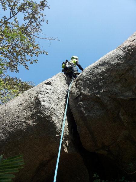 Rock Climbing Photo: Samiran on lead, aided at the crux