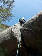 Rock Climbing Photo: Samiran on lead, aided at the crux