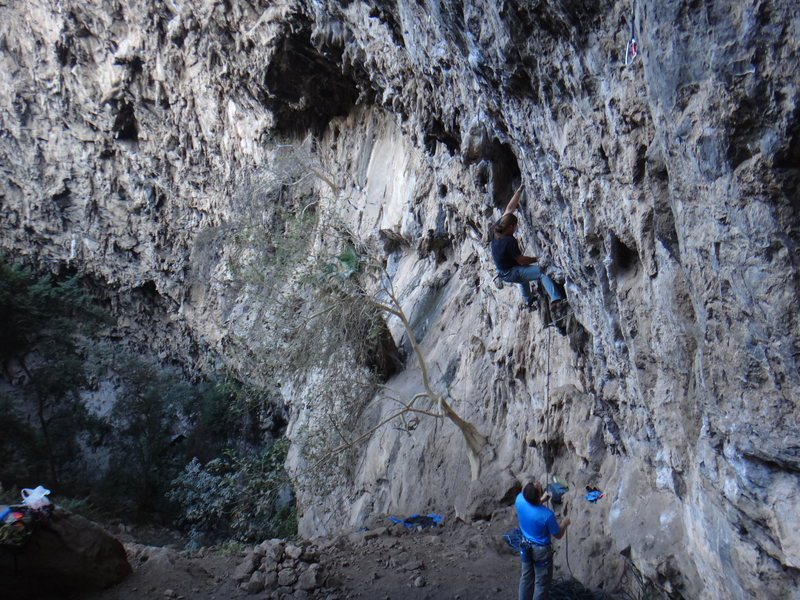 Rock Climbing Photo: Mauricio Herrera Cuadra starting La Bocina.  Photo...
