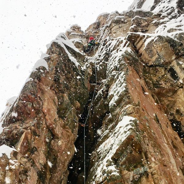 Lindsey Hamm on the sharp end in very wintery conditions.