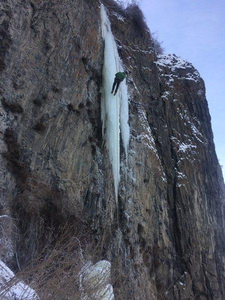 Rock Climbing Photo: Derek rappelling off the hanger!  Go repeat it, so...