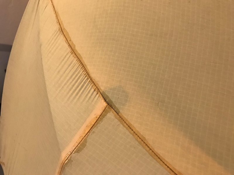 Rock Climbing Photo: Seam sealing done by me. Probably time for a new t...