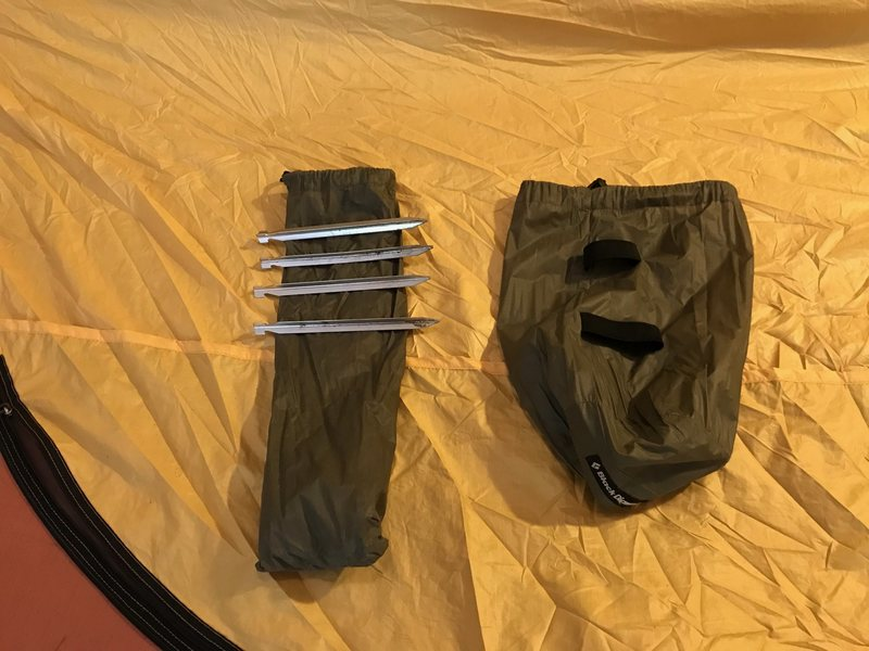 Tent and pole bag, plus stakes