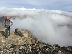 Rock Climbing Photo: Henri above cloud-line after the technical section...