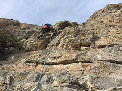 Rock Climbing Photo: Henri leading P5.
