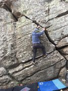 Rock Climbing Photo: Isaak after the transition onto the vertical crack