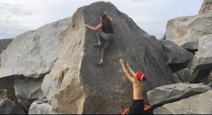 Rock Climbing Photo: Start out on slopey right hand crimp and left hand...