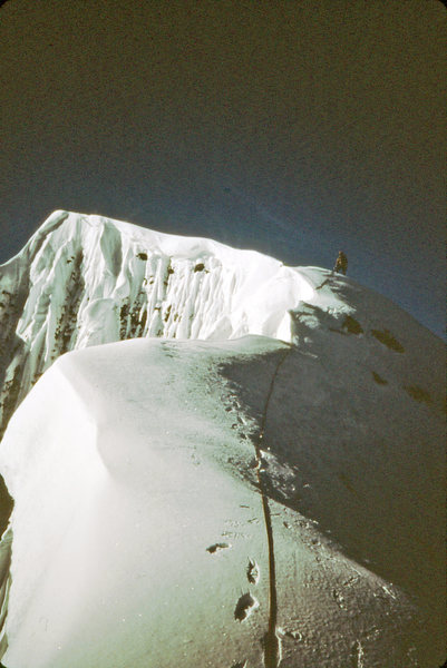 Dave Koch on the summit ridge 1984.