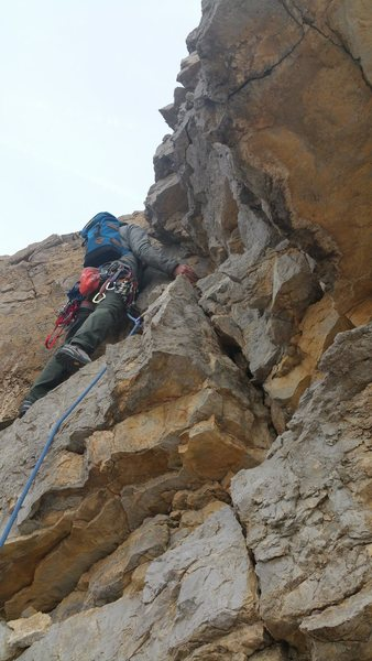 Rock Climbing Photo: Henri getting started on Pitch 3. We chose the wes...
